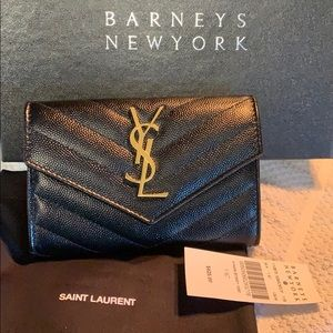 New YSL small flap envelope wallet - black/gold